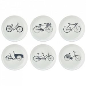 Set 6 farfurii albe/negre din portelan 20 cm Bikes Pols Potten