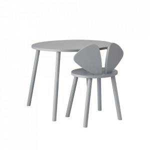Set masa si scaun gri din lemn Mouse School Nofred