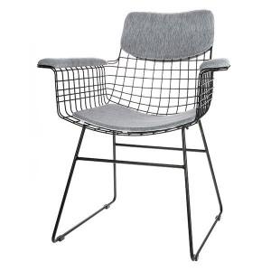 Set perne bumbac gri pentru sezut si spatar scaun cu manere HK Living