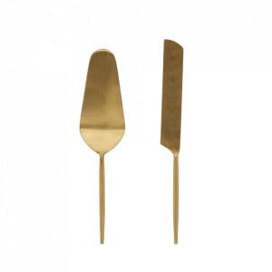 Set spatula si cutit aurii din inox pentru prajituri Lite La Forma