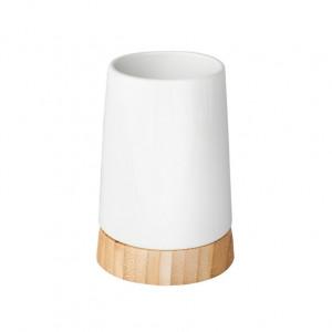 Suport alb/maro din ceramica si lemn pentru periuta dinti 8x11,6 cm Sepp Wenko