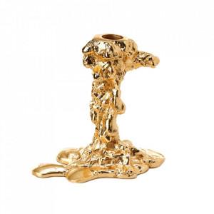 Suport auriu din aluminiu pentru lumanare 14 cm Drip S Pols Potten