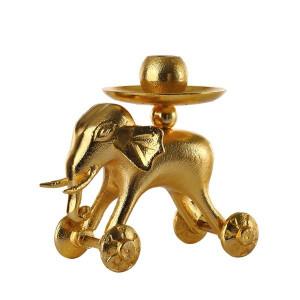 Suport auriu pentru lumanare Wheelie Elephant Pols Potten