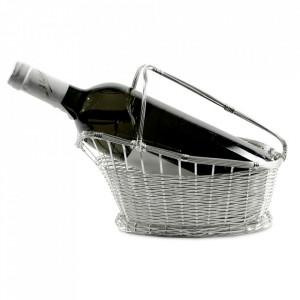 Suport din metal argintat pentru sticle Basket Edzard