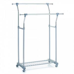 Suport gri/argintiu din metal si plastic 161 cm pentru umerase Roll Clothes Extendable Zeller
