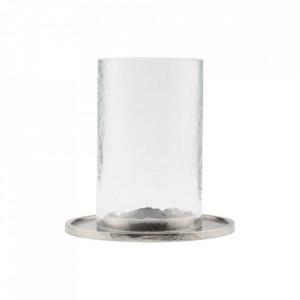Suport lumanare argintiu din aluminiu si sticla 16 cm Cylo House Doctor