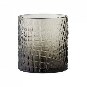Suport lumanare gri din sticla 9 cm Riva Bloomingville