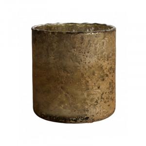Suport lumanare maro bronz din sticla 10 cm Sparkle Nordal