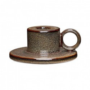 Suport lumanare maro din ceramica 5 cm Ernest Hubsch