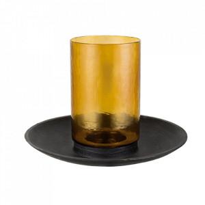 Suport lumanare maro din sticla si aluminiu 32 cm Mex Lifestyle Home Collection