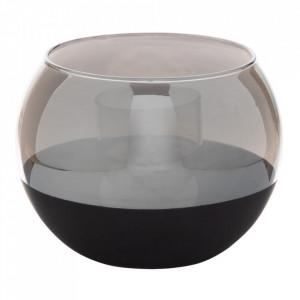 Suport lumanare negru/gri din sticla 9 cm Annelles Ixia