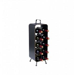 Suport negru din metal pentru 10 sticle de vin Stalwart Dutchbone