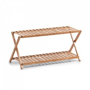 Suport pliabil maro din lemn de bambus pentru incaltaminte Louise Zeller