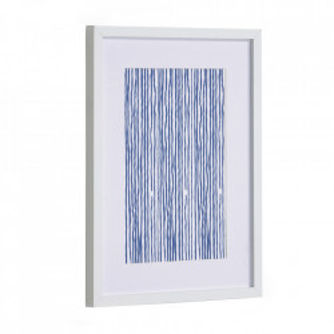 Tablou alb/albastru din canvas si MDF 30x40 cm Kuma Lines Kave Home