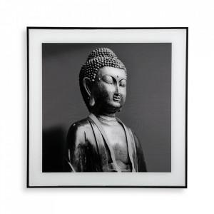 Tablou alb/negru din sticla 50x50 cm Buddha Versa Home