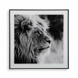 Tablou alb/negru din sticla 50x50 cm Lion Versa Home