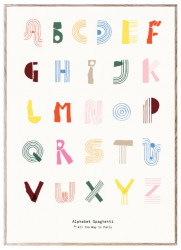 Tablou cu rama din lemn de stejar 50x70 cm Alphabet Spaghetti Colourful English Paper Collective