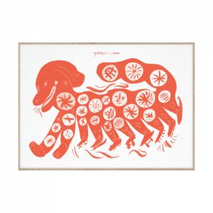 Tablou cu rama din lemn de stejar 50x70 cm Chinese Dog Red Paper Collective