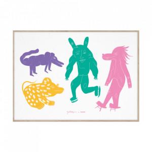 Tablou cu rama din lemn de stejar 50x70 cm Four Creatures Multi Paper Collective