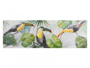 Tablou din lemn de pin 50x150 cm Parrots Santiago Pons