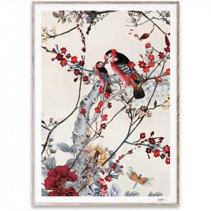 Tablou multicolor din lemn si sticla Birds Paper Collective