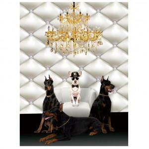 Tablou multicolor din sticla 60x80 cm Dogs Ter Halle