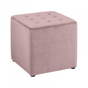 Taburet patrat roz prafuit din catifea si lemn 38x38 cm Bryan Actona Company