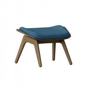 Taburet pentru picioare dreptunghiular albastru petrol/maro inchis din poliester si lemn 46x60 cm The Reader Umage
