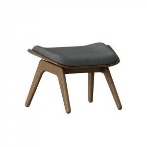 Taburet pentru picioare dreptunghiular gri/maro inchis din poliester si lemn 46x60 cm The Reader Umage