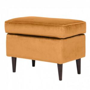 Taburet pentru picioare galben din catifea si lemn de fag 40x60 cm Ron Signal Meble