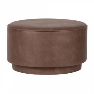 Taburet rotund din piele maro 60 cm Coffee Warm Brown Woood