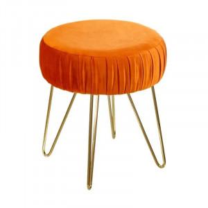 Taburet rotund portocaliu din catifea si metal 30 cm Vela Ixia