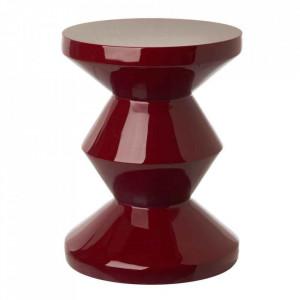 Taburet rotund rosu burgund din poliester lacuit 33,5 cm Zig Zag Pols Potten