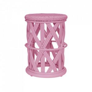 Taburet rotund roz din ratan 30 cm Clu-Clu Kids Depot