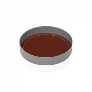 Tava decorativa rotunda gri/maro din metal 15,5 cm Plate Grey Leather Versa Home