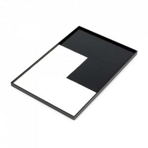 Tava dreptunghiulara neagra/alba din lemn 30x45 cm Geometry Serax