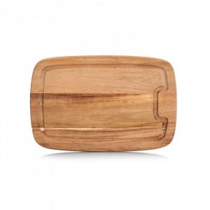 Tocator dreptunghiular maro din lemn 21x32 cm Juice Groove Zeller