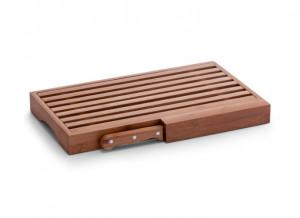 Tocator dreptunghiular maro din lemn 23,5x39,5 cm pentru paine Breadboard Knife Zeller
