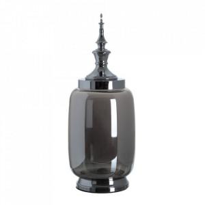 Vas decorativ argintiu din metal si sticla 49 cm Tibor Ixia
