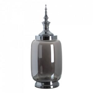 Vas decorativ argintiu din metal si sticla 56 cm Tibor Ixia