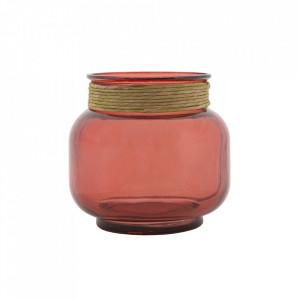 Vaza rosu bordo din sticla 18 cm Berlin Mauro Ferretti