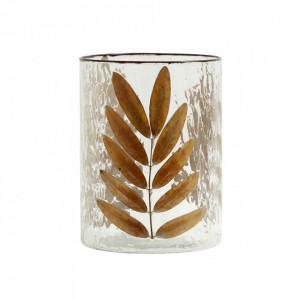 Vaza transparenta/maro din sticla 20 cm Leaves Nordal