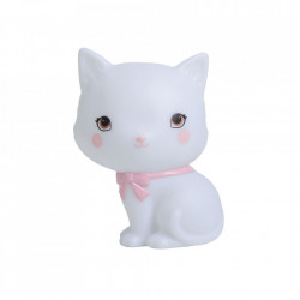 Veioza alba din PVC cu LED 14 cm Kitty A Little Lovely Company