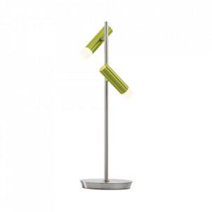 Veioza argintie/verde din metal si plastic cu 2 LED-uri 50 cm Stuttgart MW Glasberg