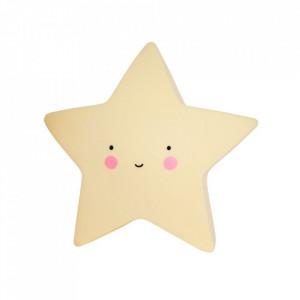 Veioza galbena din PVC cu LED 13 cm Star A Little Lovely Company