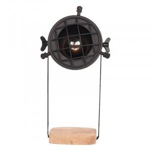Veioza neagra/maro din metal si lemn 39 cm Grid LABEL51