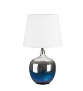 Veioza sticla albastru si argintiu cu abajur alb Ocean Markslojd
