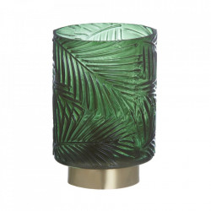 Veioza verde din sticla si metal 14,5 cm Leaf Ixia