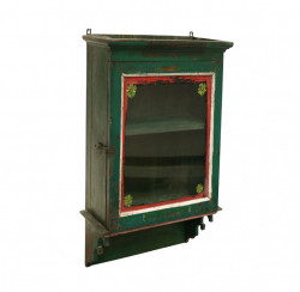 Vitrina verde din lemn pentru perete 85 cm Habbas Raw Materials