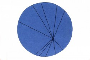 Covor rotund albastru safir din bumbac 160 cm Trace Sapphire Lorena Canals